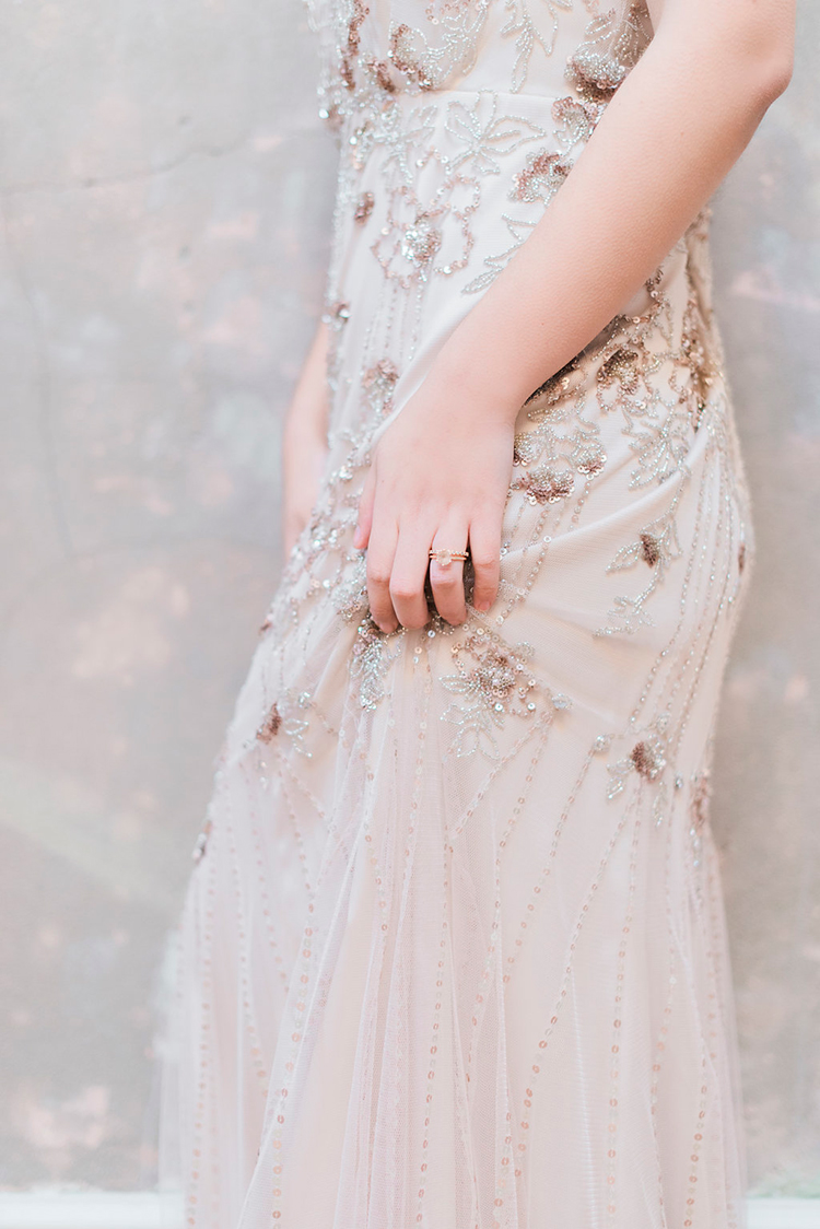 Jenny Packham wedding dress detailing - photo by Studio Brown http://ruffledblog.com/industrial-wedding-shoot-in-dublin-with-serious-romantic-vibes