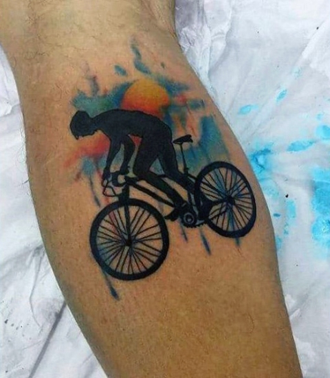 Man on the bicycle tattoo