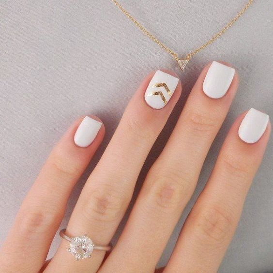 short square matte white nails with gold chevron accents
