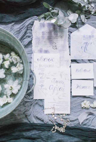 Gray watercolor wedding invitations | Anna Zabrodina Photography