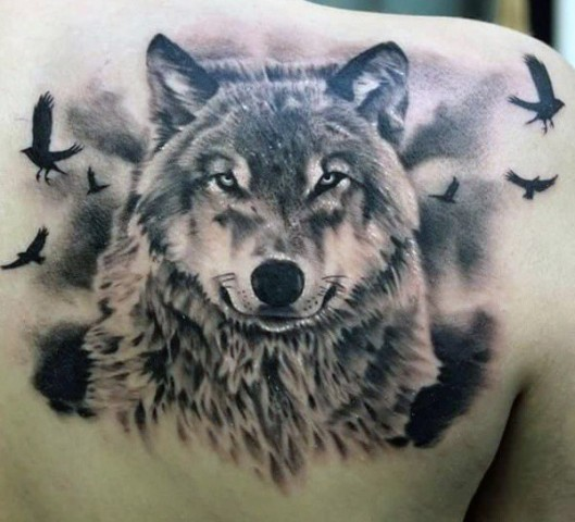 Wolf and birds tattoo