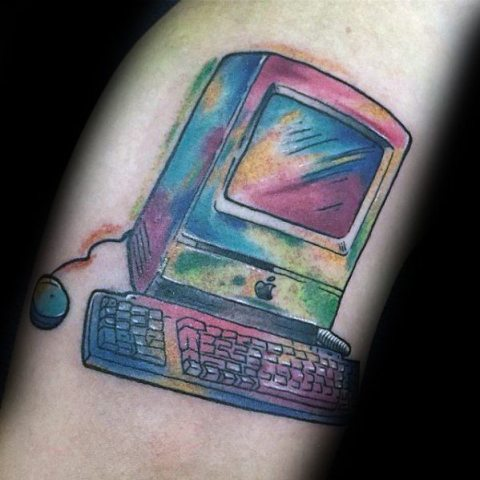 Watercolor computer tattoo idea