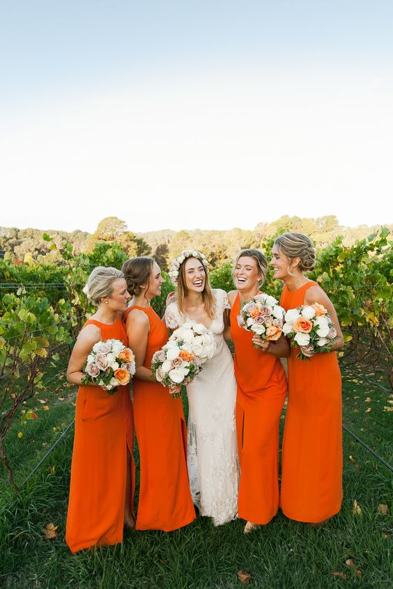 sleeveless halter neckline maxi bridesmaids' gowns with a front slit