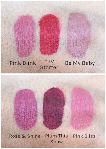 Rimmel London Stay Matte Liquid Lip Color Swatches - Pink Blink, Fire Starter, Be My Baby, Rose & Shine, Plum This Show and Pink Bliss
