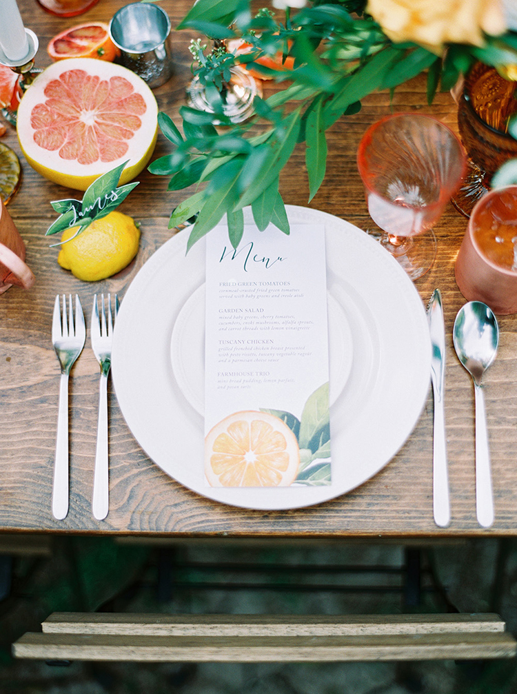 citrus themed weddings - photo by Melissa Jill Photography http://ruffledblog.com/citrus-and-copper-orchard-wedding-inspiration