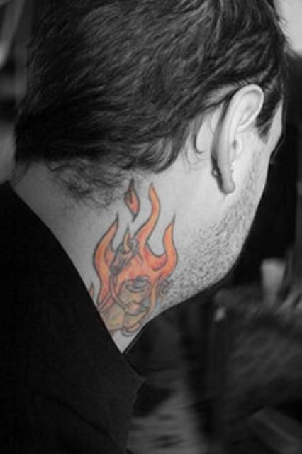 Flame tattoo on the neck