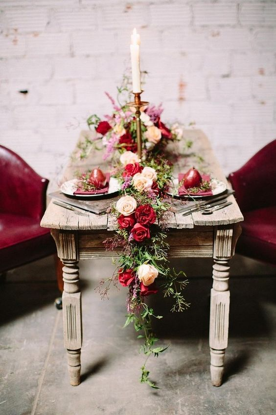 eucalyptus and cream and berry-hued roses for an elegant, vintage-inspired look