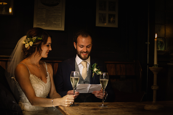 The couple escaped after the ceremony to a bar and had drinks there to relax and be just with each other