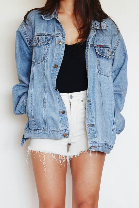 high waist white denim shorts, a black top and a blue denim jacket to feel comfy and cozy