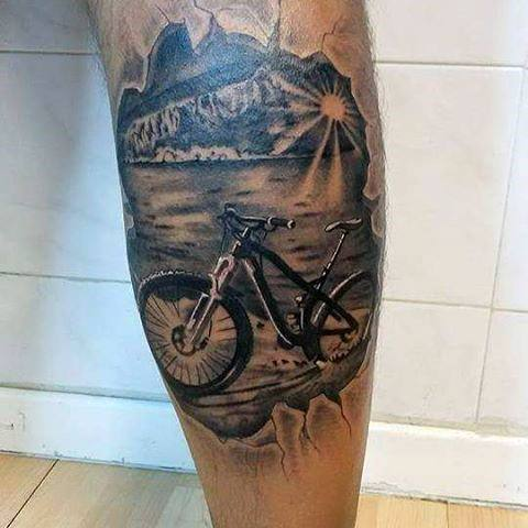 Bicycle at the lake tattoo