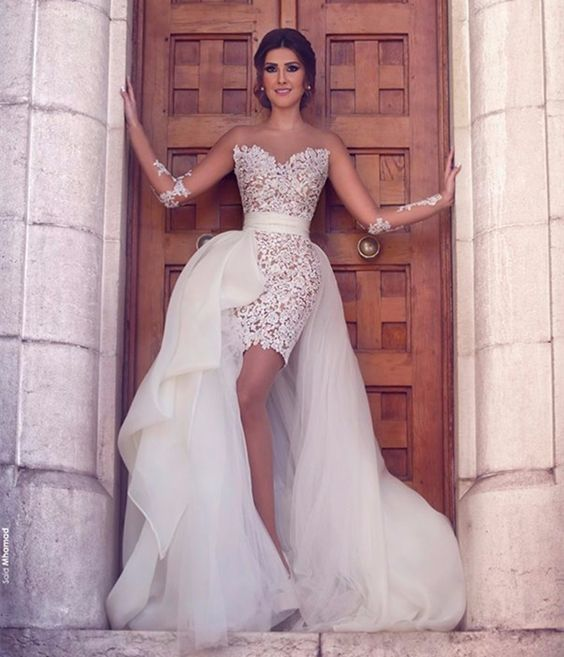 illusion strapless short lace wedding dress with a full lace overskirt for the ceremony
