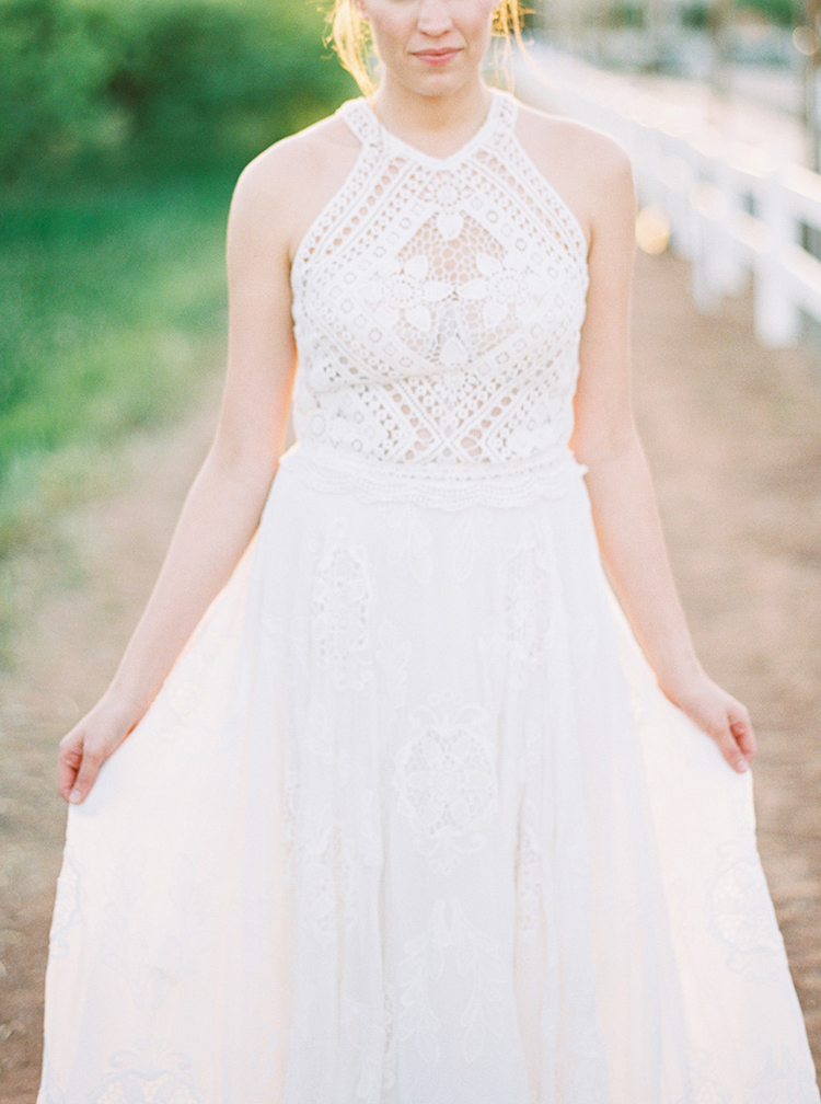 Rue de Seine wedding gowns - photo by Melissa Jill Photography http://ruffledblog.com/citrus-and-copper-orchard-wedding-inspiration