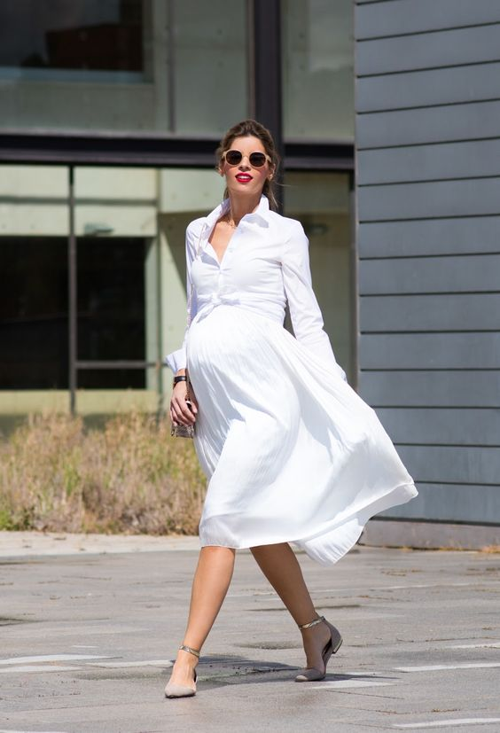 a white shirt knee dress with nude ankle strap flats for comfort