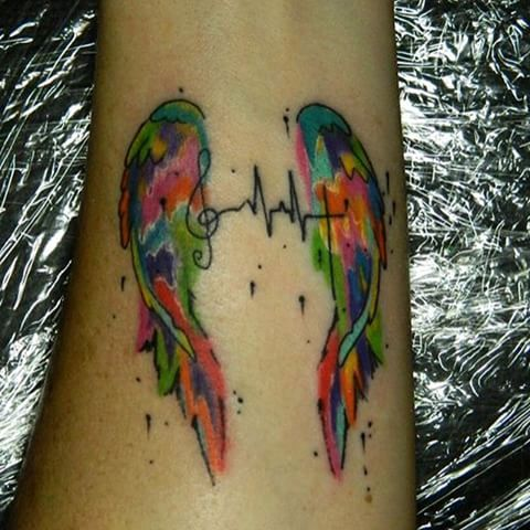 Two wings and heartbeat tattoo