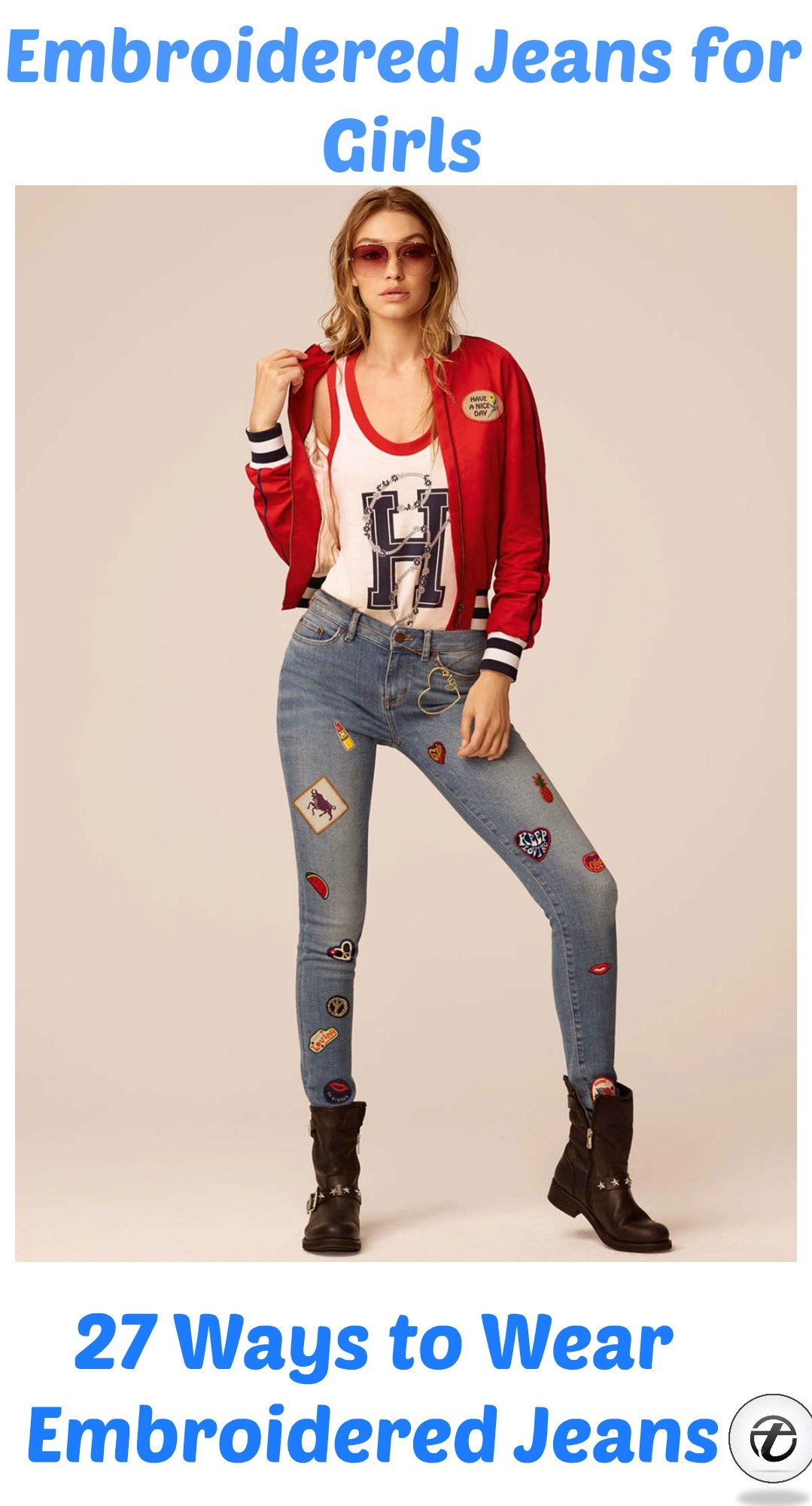 Embroidered Jeans for Girls (1)