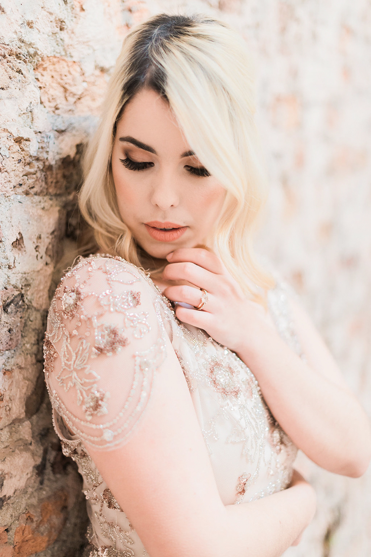 romantic Jenny Packham wedding gown - photo by Studio Brown http://ruffledblog.com/industrial-wedding-shoot-in-dublin-with-serious-romantic-vibes