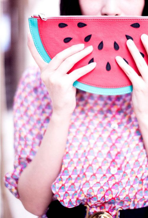 a fun watermelon clutch to add a humorous and juicy touch to your look