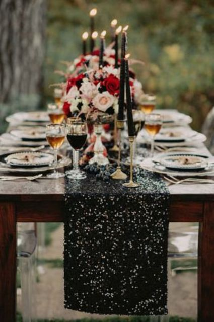 black sequin table runner with grapes for a decaent feel