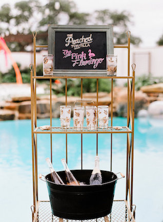 Palm Springs inspired bar cart | Leighanne Herr Photography