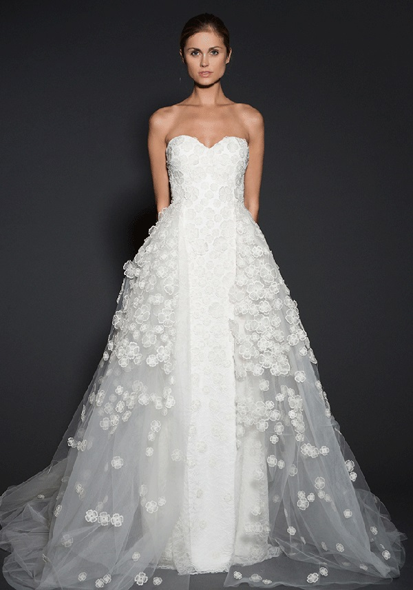 floral lace applique sheath wedding dress with an additional tulle overskirt for the ceremony