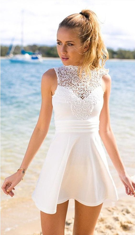 sleeveless mini dress with a crochet lace top