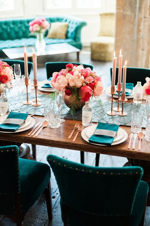 teal chairs, napkins and string table runner plus copper vases, flatware and candle holders look wow