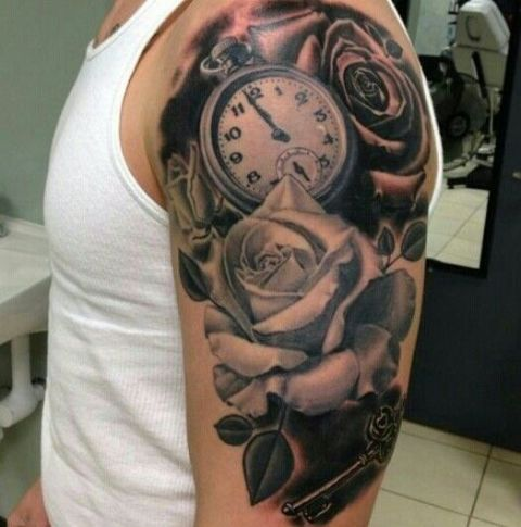 Clock with rose tattoo