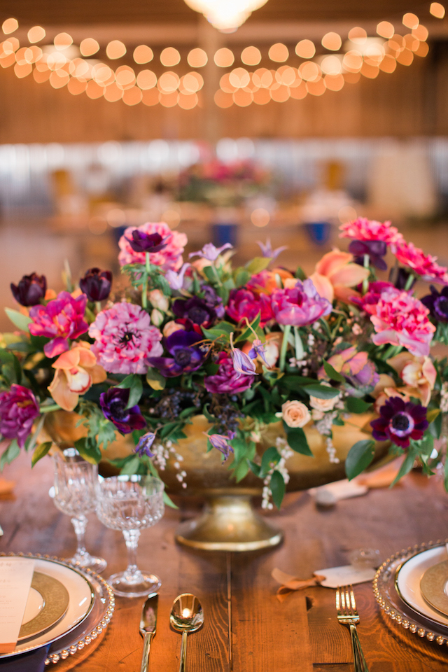 Purple and gold centerpiece | Sweet Roots Photography