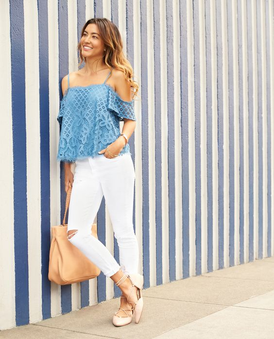 white distressed cropped jeans, an off the shoulder blue lace top and blush lace up shoes