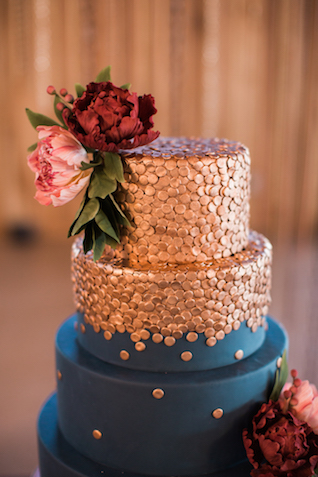 Copper topped navy wedding cake | Sweet Roots Photography