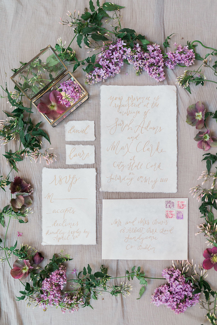 romntic golden wedding invitations - photo by Studio Brown http://ruffledblog.com/industrial-wedding-shoot-in-dublin-with-serious-romantic-vibes