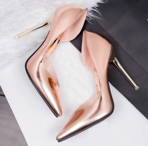 copper wedding heels to follow the hot wedding trend of metallic shoes