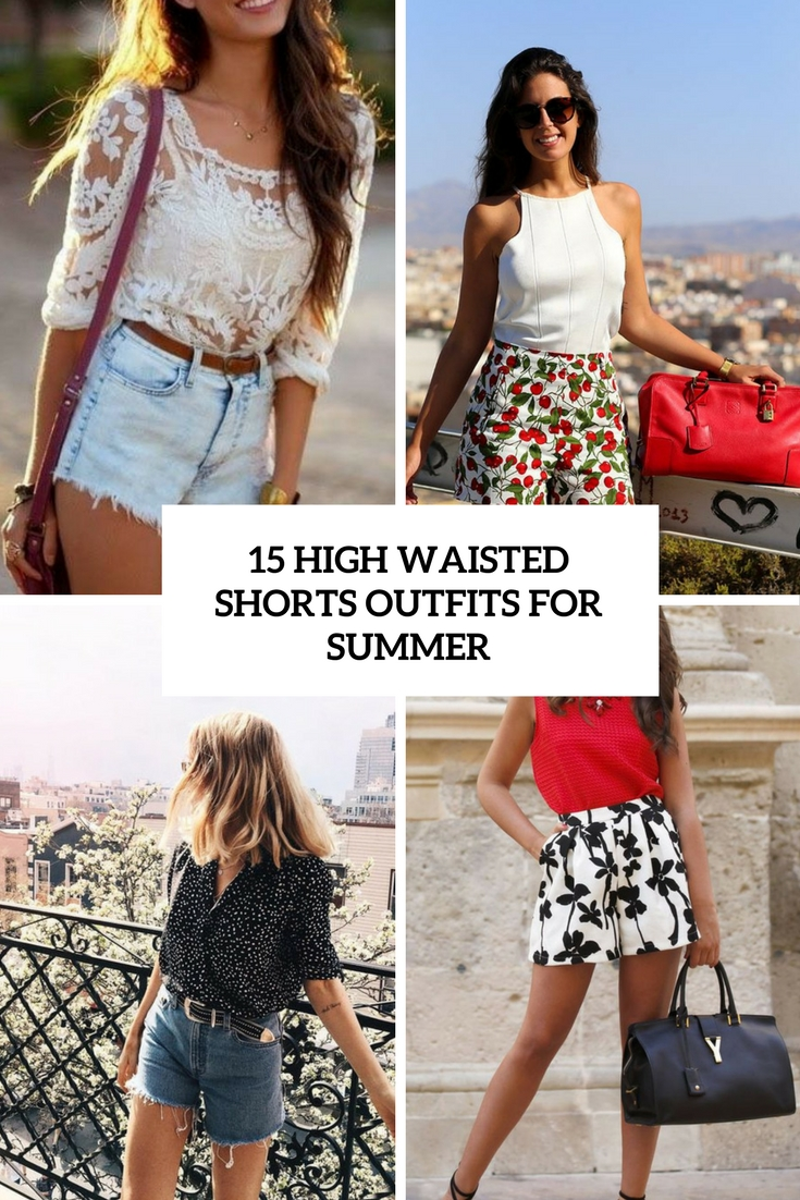 high waisted shorts outfits for summer cover