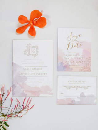Purple and orange wedding invitations | Rodeo & Co Photography + BESWOON