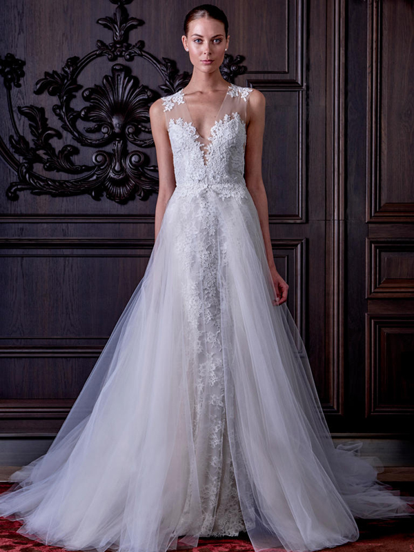 lace illusion strap wedding dress with a tulle overskirt looks so natural that you'd never guess it's a convertible dress
