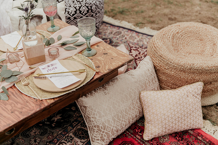 boho wedding seating - photo by Sarah White Photography http://ruffledblog.com/boho-bridal-shower-inspiration-for-your-bride-tribe