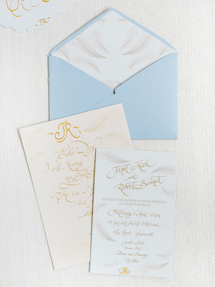 blue and gold wedding invitations - photo by Facibeni Fotografia http://ruffledblog.com/golden-sunset-wedding-inspiration-overlooking-tuscan-hills