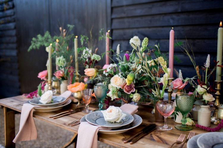 The table was laid with pops of pink, gorgeous blooms and textures and it enchanted with that warm rustic feel