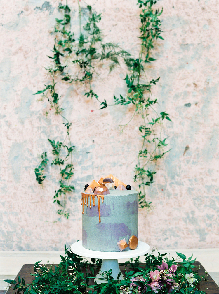 blue and purple wedding cakes - photo by Studio Brown http://ruffledblog.com/industrial-wedding-shoot-in-dublin-with-serious-romantic-vibes