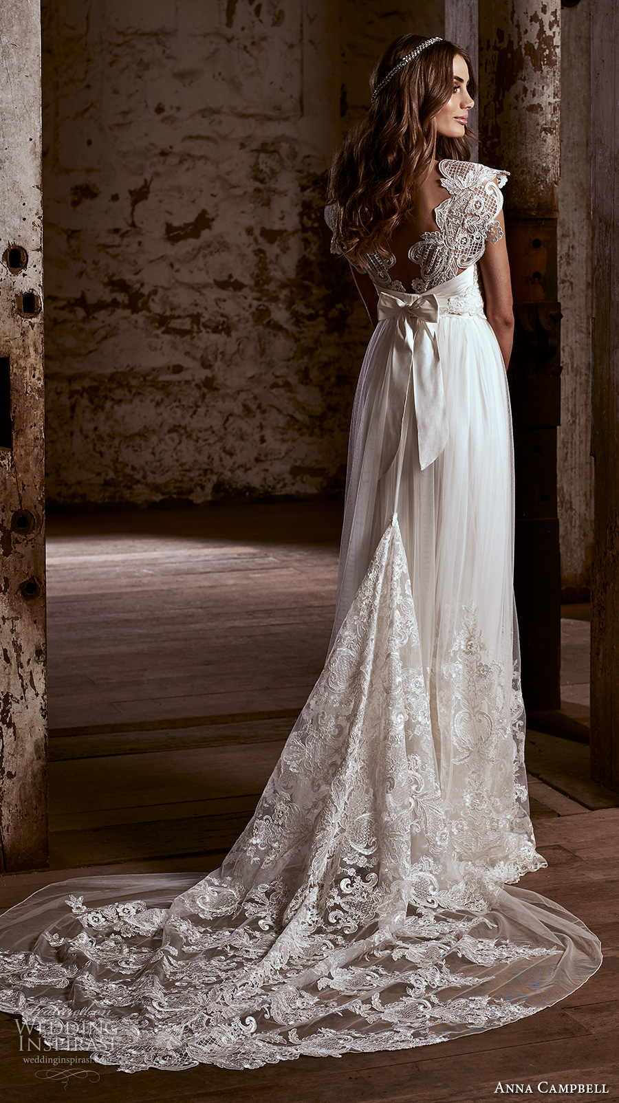 anna campbell 2018 bridal cap sleeves sweetheart neckline heavily embellished bodice romantic soft a line wedding dress open v back sweep train (5) bv