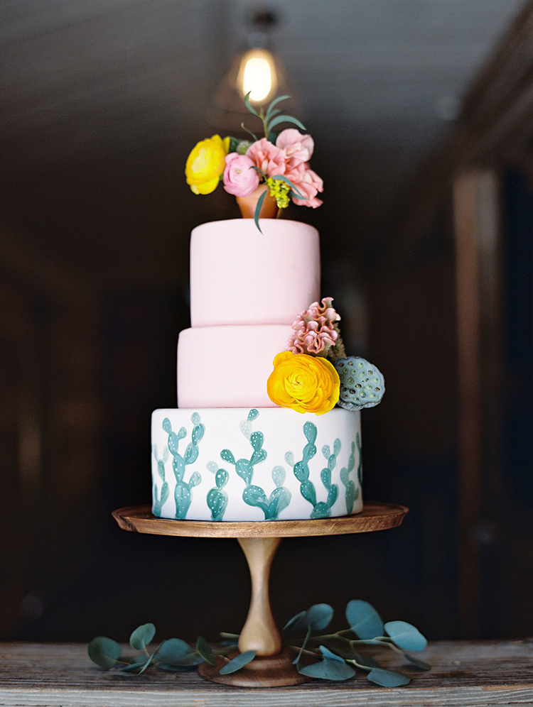 cactus wedding cakes - photo by Charla Storey Photography http://ruffledblog.com/summer-loving-wedding-inspiration-with-a-fiesta-brunch