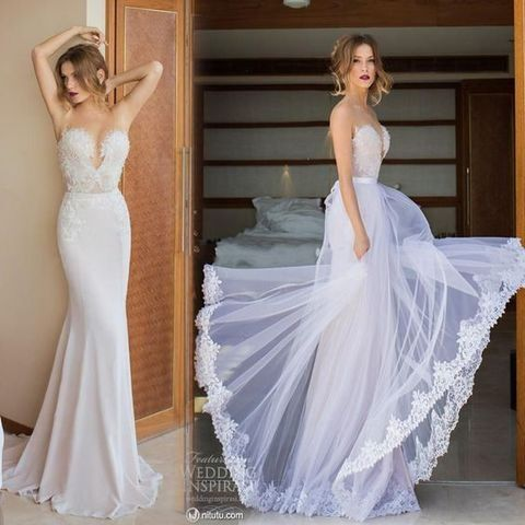 strapless lace wedding dress with a plunging neckline looks like another one with a layered tulle overskirt
