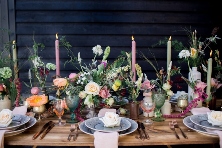 This wedding shoot strikes with gorgeous florals, greenery and amazing food stations that are worth stealing