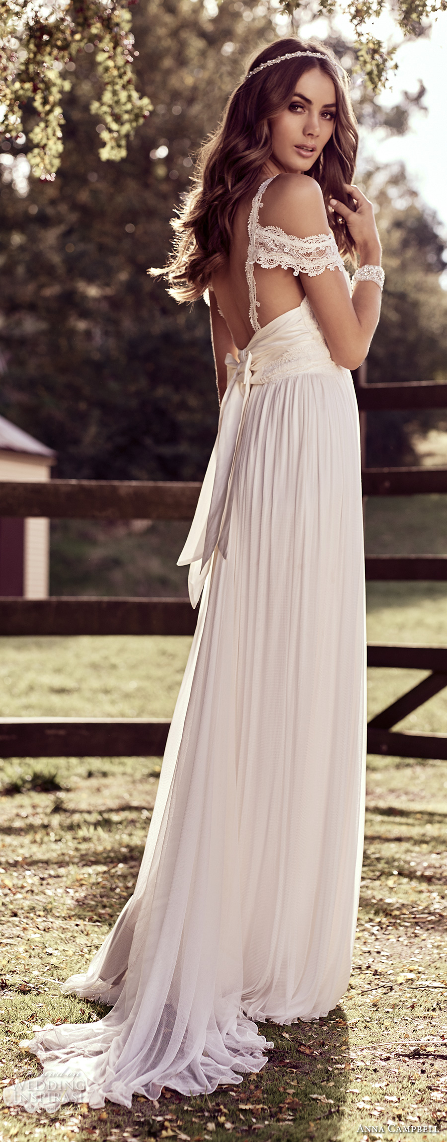 anna campbell 2018 bridal off shoulder with strap sweetheart neckline wrap over bodice soft a line wedding dress open back sweep train (9) bv