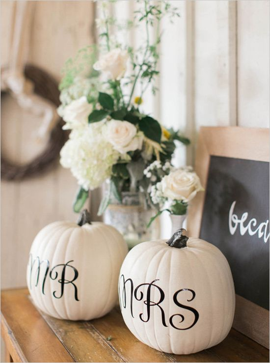 white pumpkins with Mr and Mrs monograms is a cool and sweet decoration for DIY