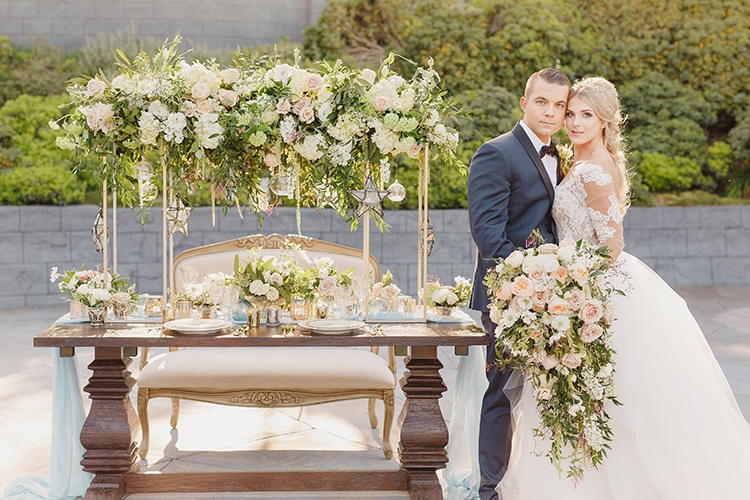 romantic wedding tables - photo by Kristen Booth Photographer http://ruffledblog.com/majestic-castle-wedding-inspiration-with-celestial-accents