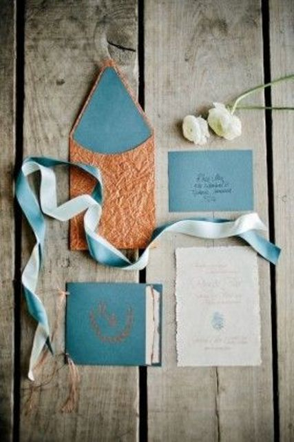 teal and copper wedding stationary