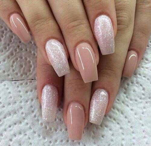 dusty pink and silver glitter nails for parties or just for summer