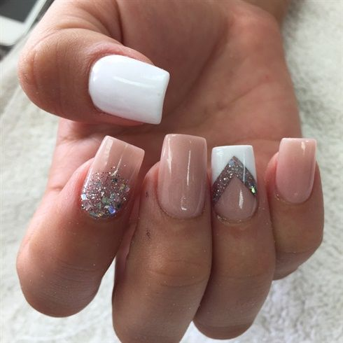 dusty pink manicure with white, glitter and rhinestone accents