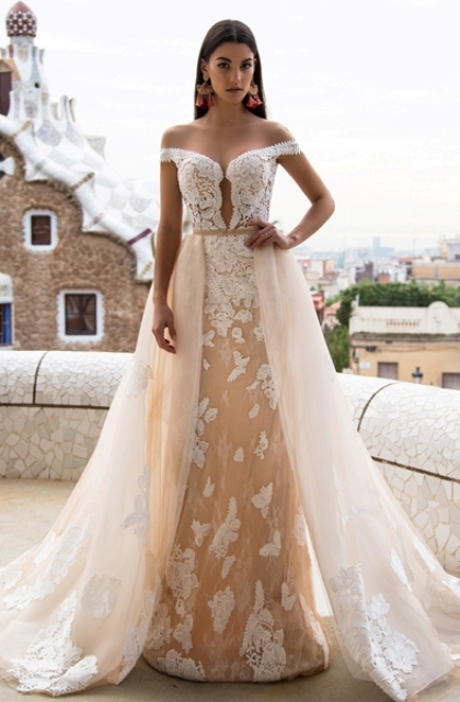 off the shoulder lace wedding dress with a matching overskirt